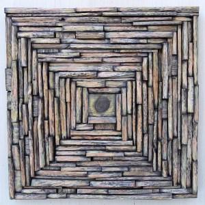 "Olga Oreshyna's Abstract Wood Wall Art ""Sunflower"""