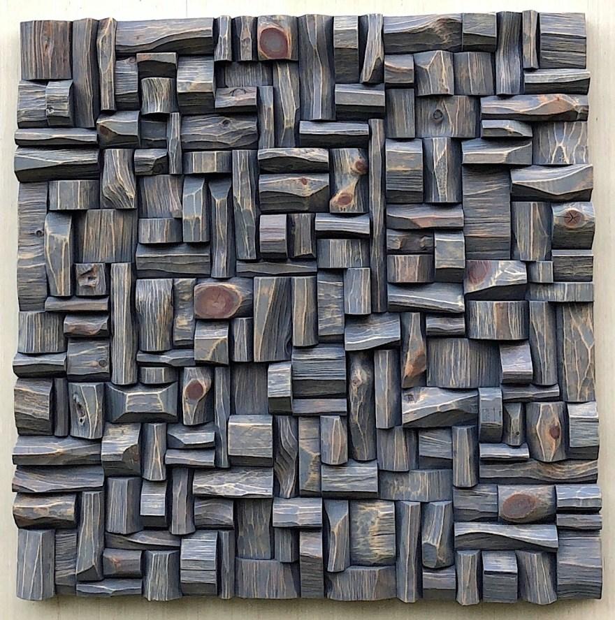 "Olga Oreshyna's Wood Wall Sculpture ""Castle"" 30x30, wood blocks assemblage"