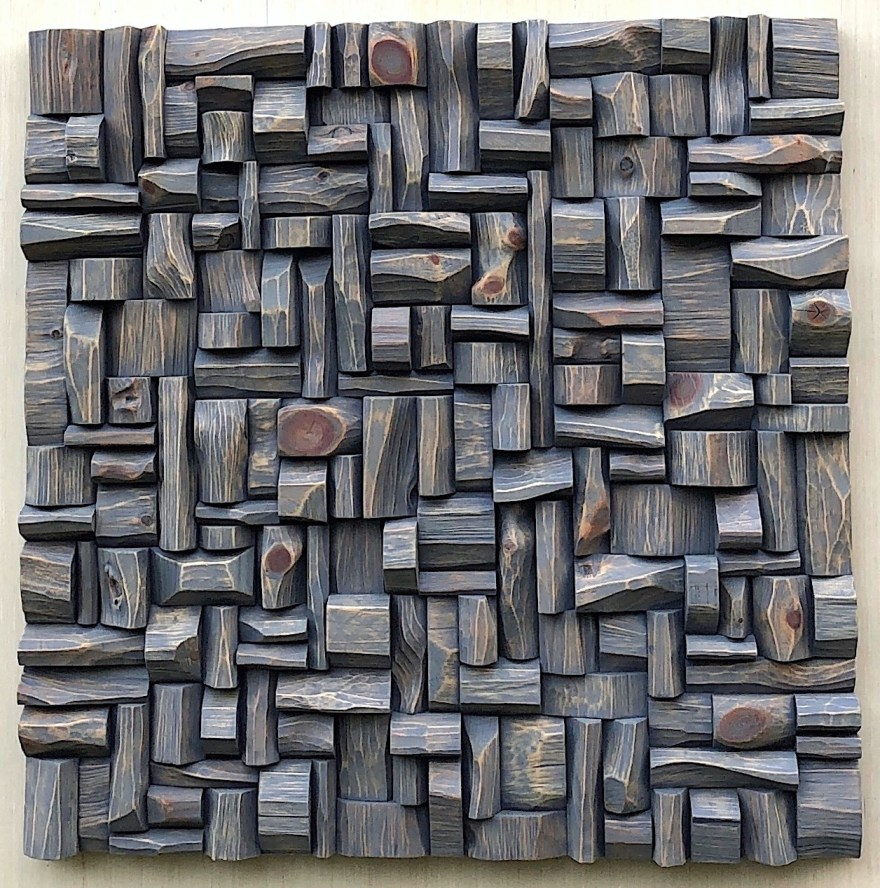 "Olga Oreshyna's Wood Wall Sculpture ""Castle"" 30x30, wood blocks assemblage"