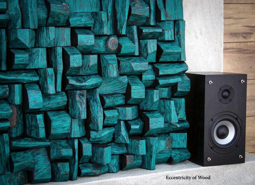 wood art sound diffusers, art acoustic panels
