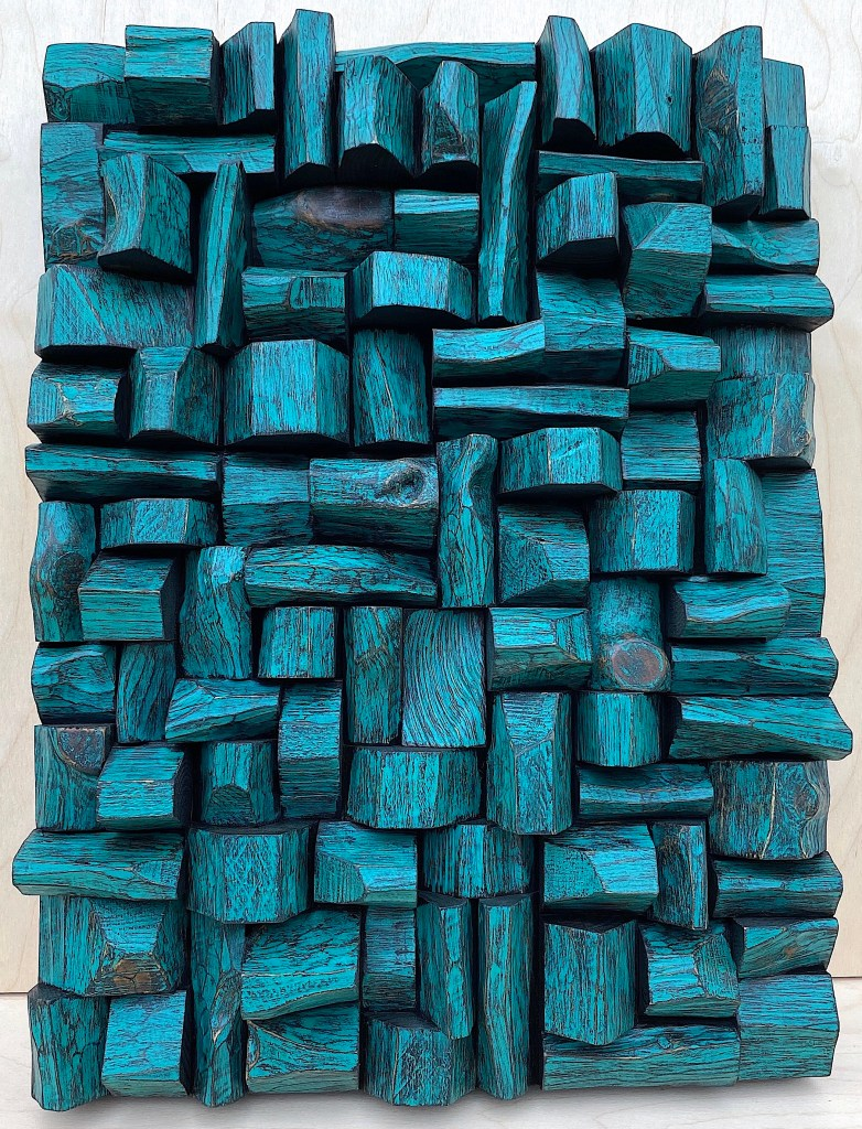 wood wall sculpture, art acoustic panel, sound diffuser