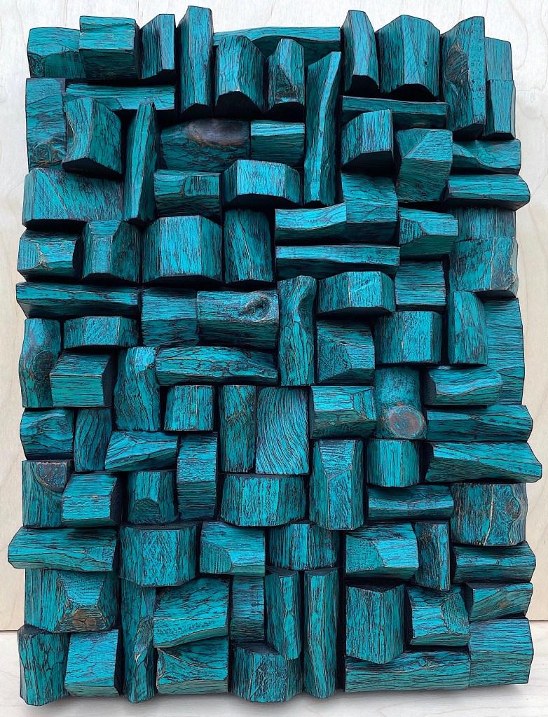 Modern wood wall sculpture, art acoustic diffuser