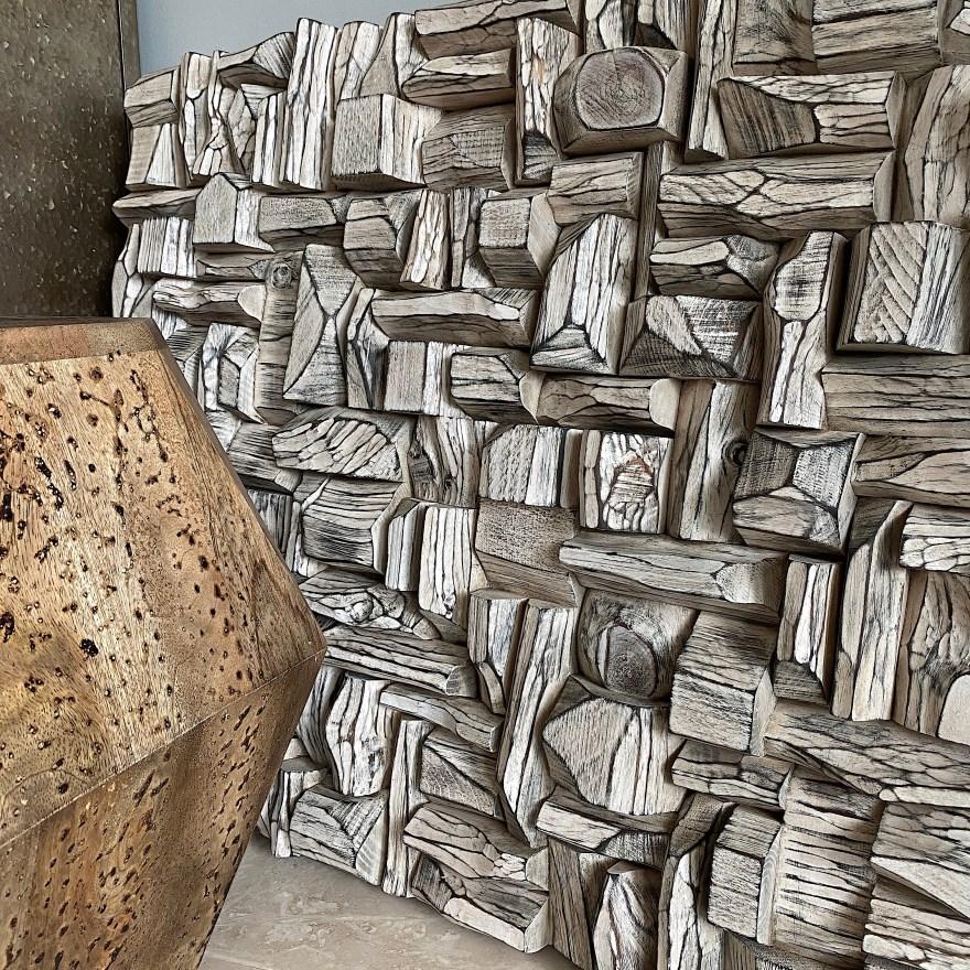 art sound diffuser, wood wall sculpture