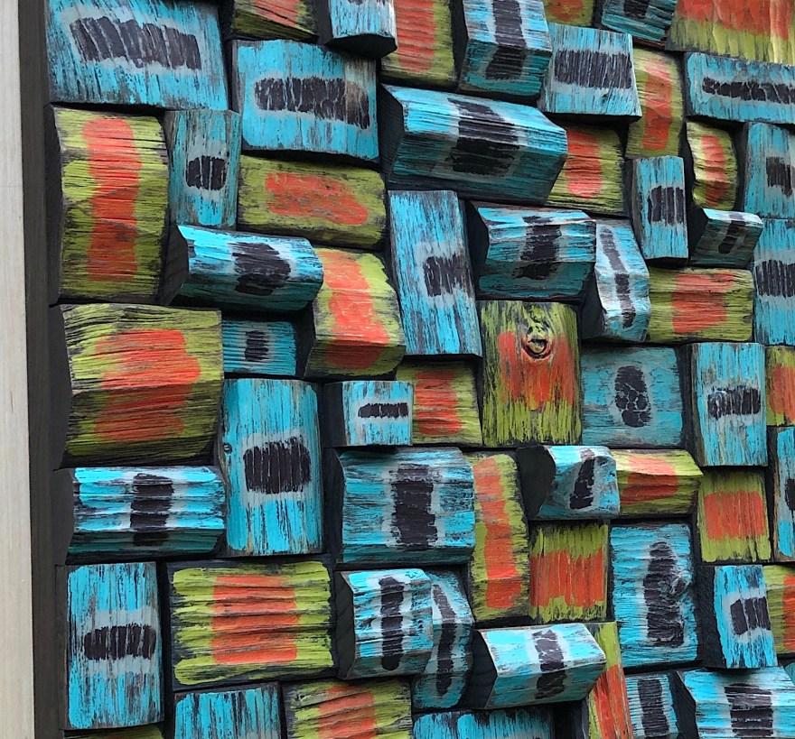 contemporary wood wall sculpture, art sound diffuser