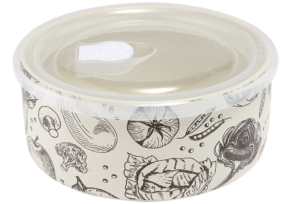 ceramic microwave bowl with lid veggie design