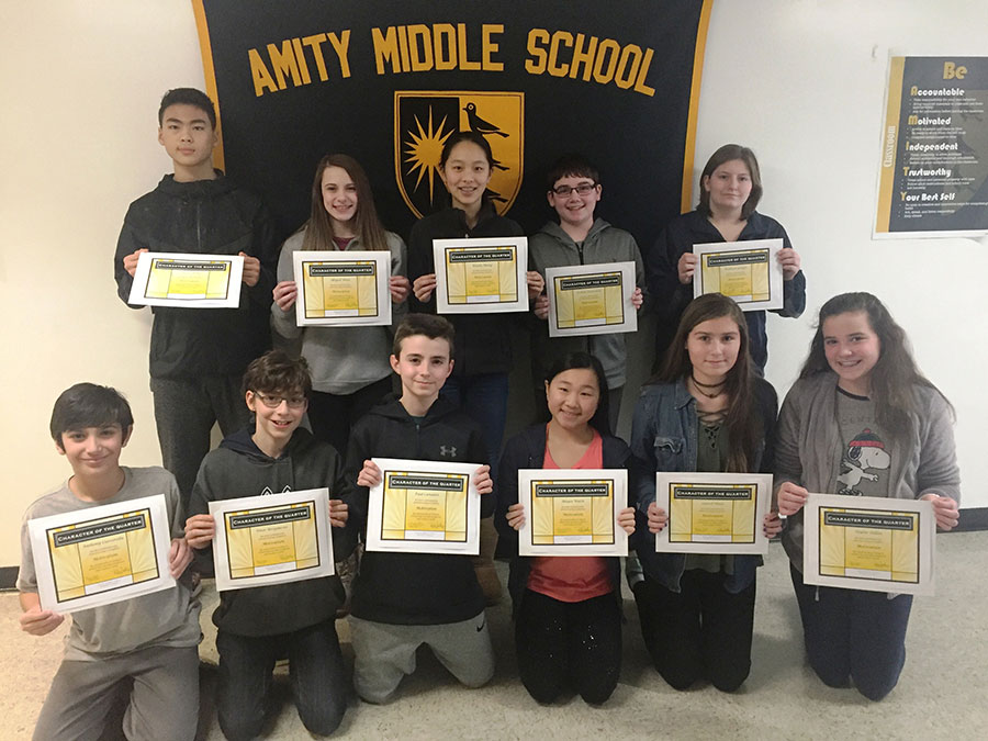 """Amity Middle School-Bethany Campus """"Character of the Quarter"""" Award"""
