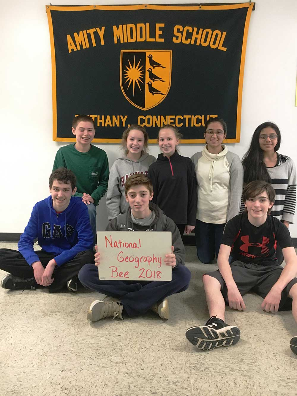 Amity Middle School Bethany National Geography Bee Finalists