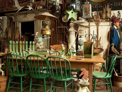 Farm Table with Green Chairs