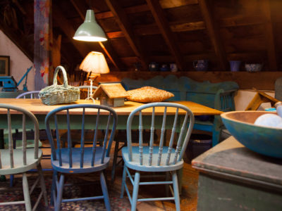 Farm Table with Blue Chairs