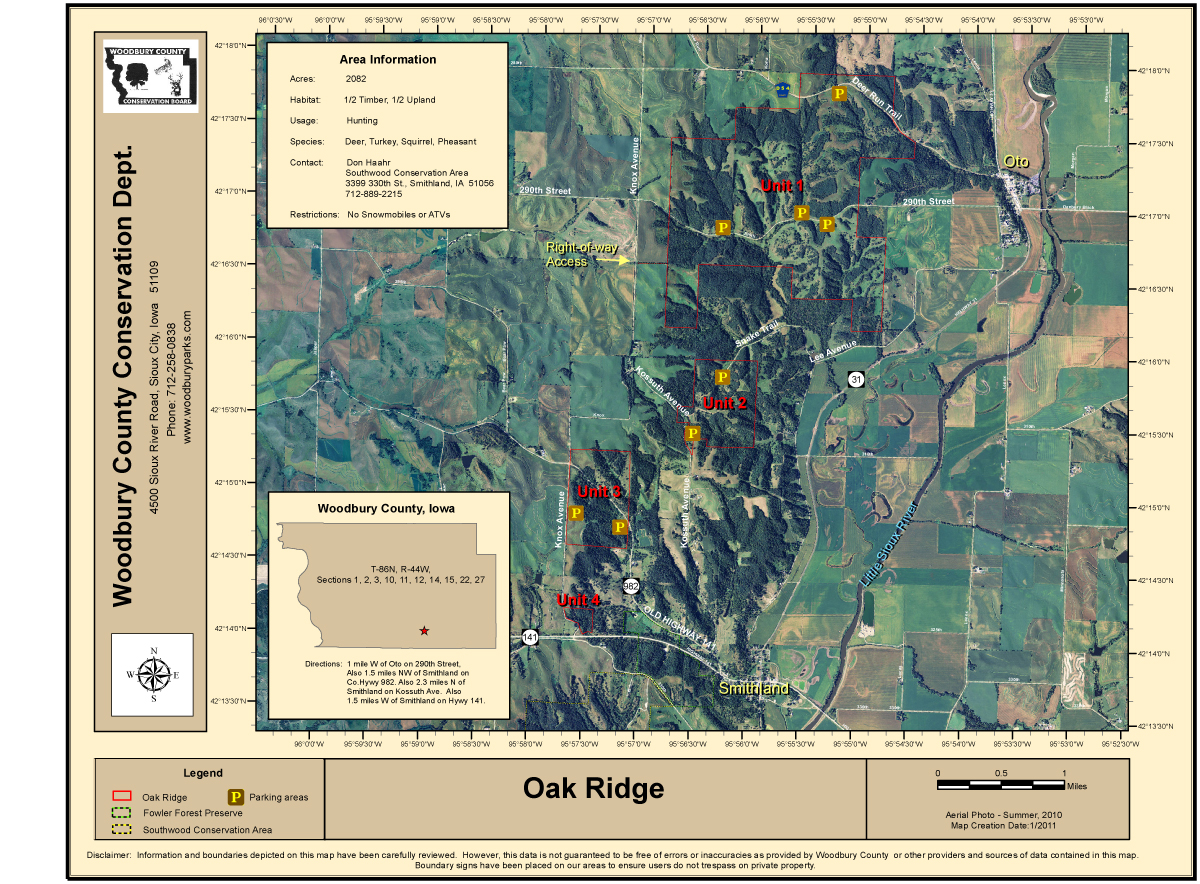 Oak Ridge Conservation Area Map   Woodbury County Conservation   Oak Ridge Conservation Area Map