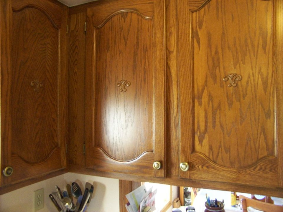 Kitchen refinished cabinet doors.