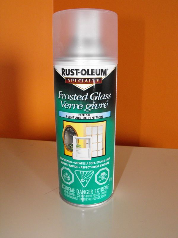 Rust-oleum Frosted Glass spray.