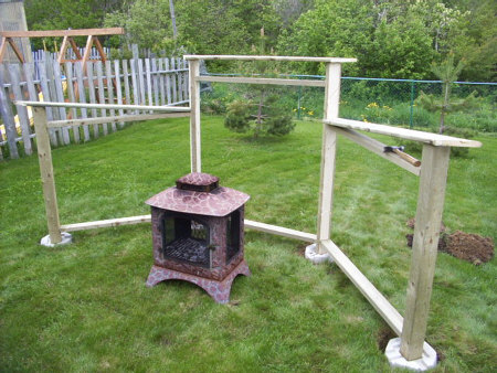 Backyard fire pit construction.
