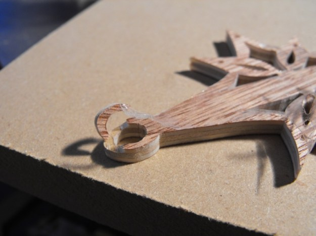 9. Fractured plywood Christmas ornament.
