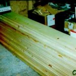 Stacks of pine boards.