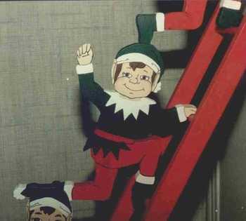 Christmas Elves on ladder