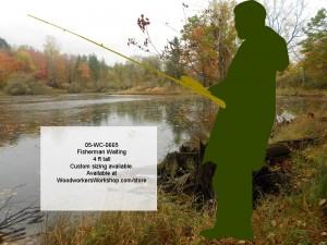 woodworking plans,patterns,projects,black silhouettes,Fisherman Waiting 4 ft Tall Yard Art Silhouette Woodworking Pattern