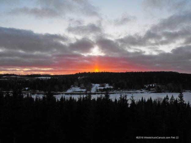 light pillars,sunset,Nova Scotia