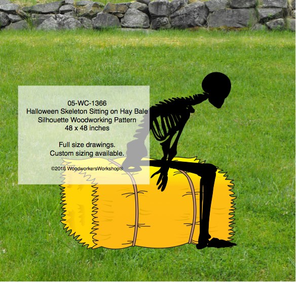 skeletons,bales of hay,on the farm,Halloween,woodworking patterns