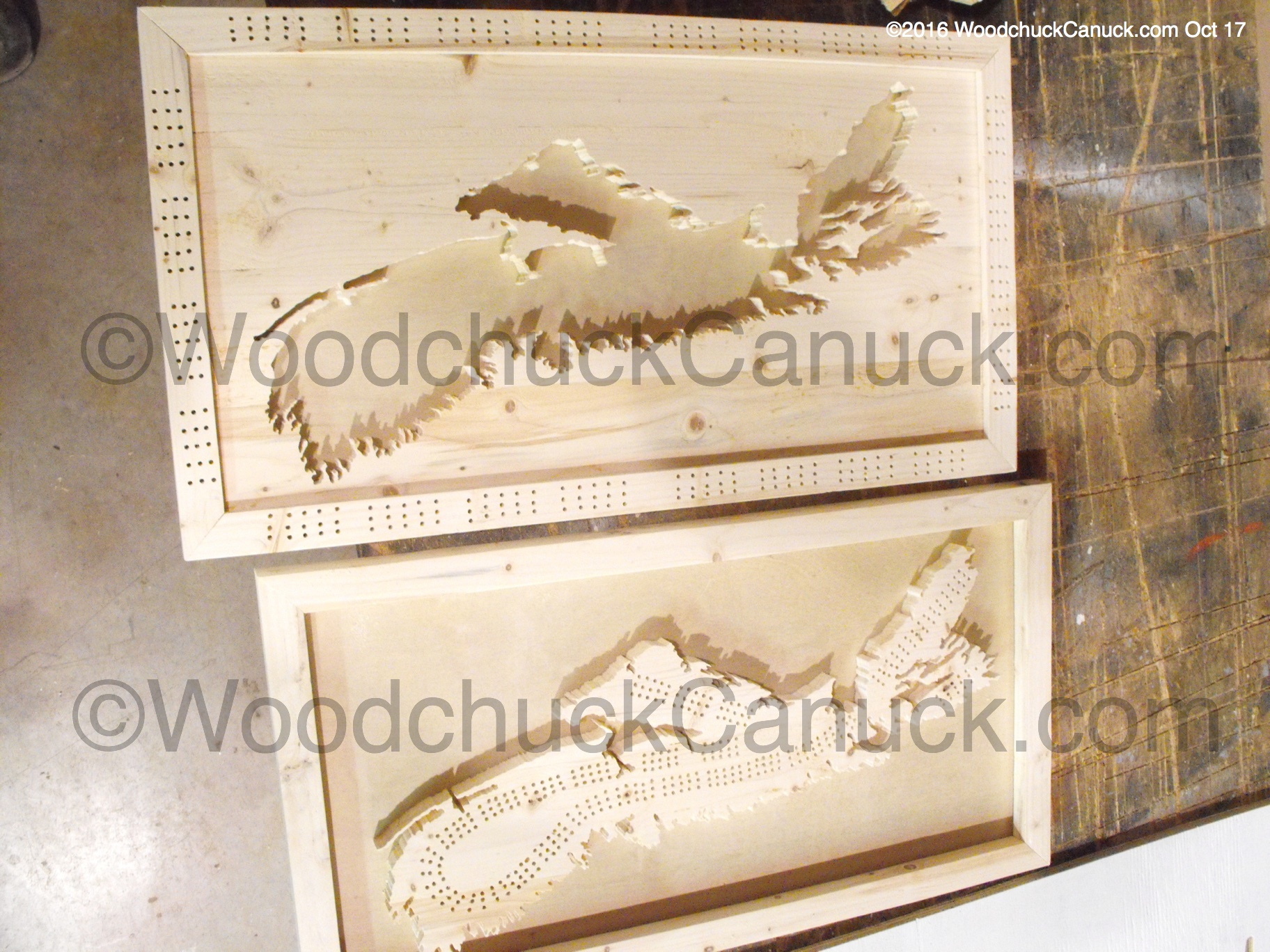 Wood Maps Nova Scotia No 18 And No 19 Cribbage Boards