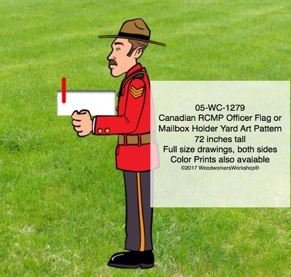Canadian RCMP Officer Flag Holder or Mailbox Holder Yard Art Pattern