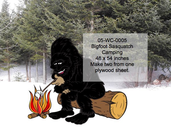 Bigfoot,Sasquatch,roasting marshmallows,camp fire,woodworking plans,patterns