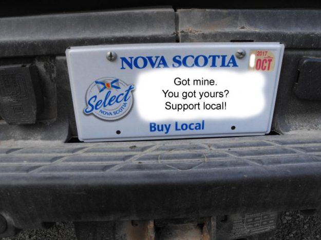 Select Nova Scotia, Buy Local license plate