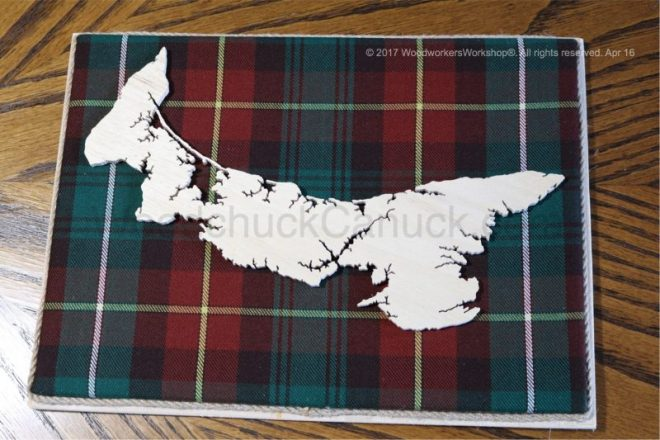 Wood map of Newfoundland with tartan background,Maritimes,maps,cartography