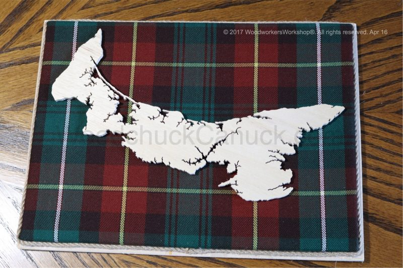 Wood map of Newfoundland with tartan background,Maritimes,maps,cartography,Charlottetown,crafts,made in the Maritimes