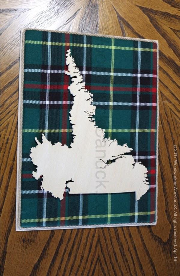 Wooden map of Labrador with tartan,cartography,Labrador City,Wabush,Happy Valley,Goose Bay
