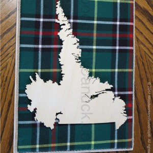 Wooden map of Labrador with tartan,cartography,Labrador City,Wabush,Happy Valley,Goose Bay