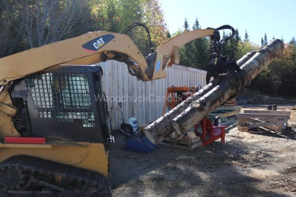skidsteer,logs,saw mill
