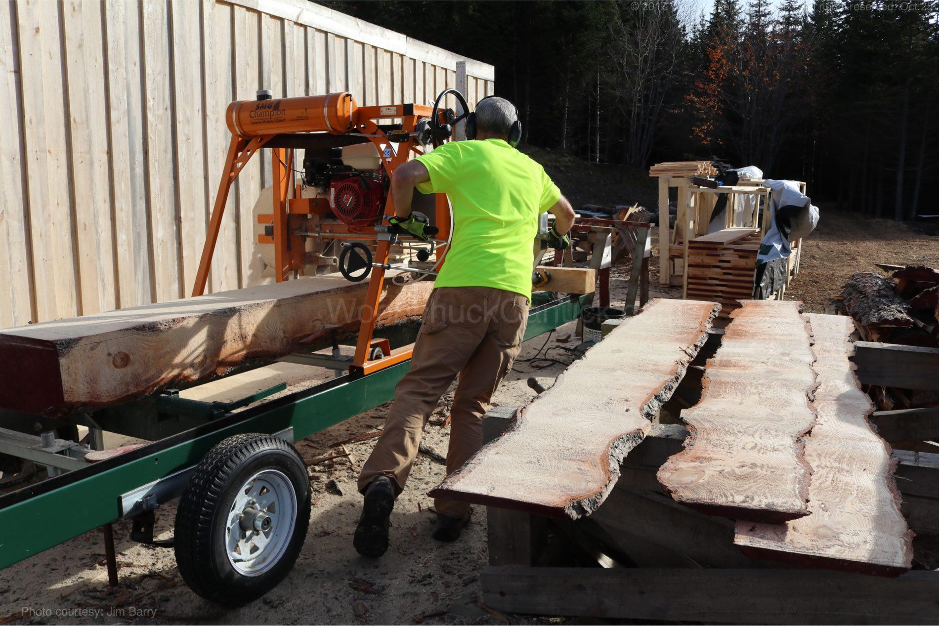 Saw milling live edge pine slabs.