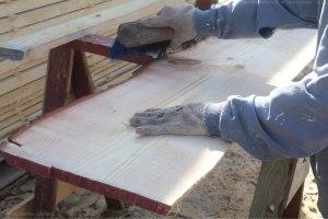 Wide pine planks.