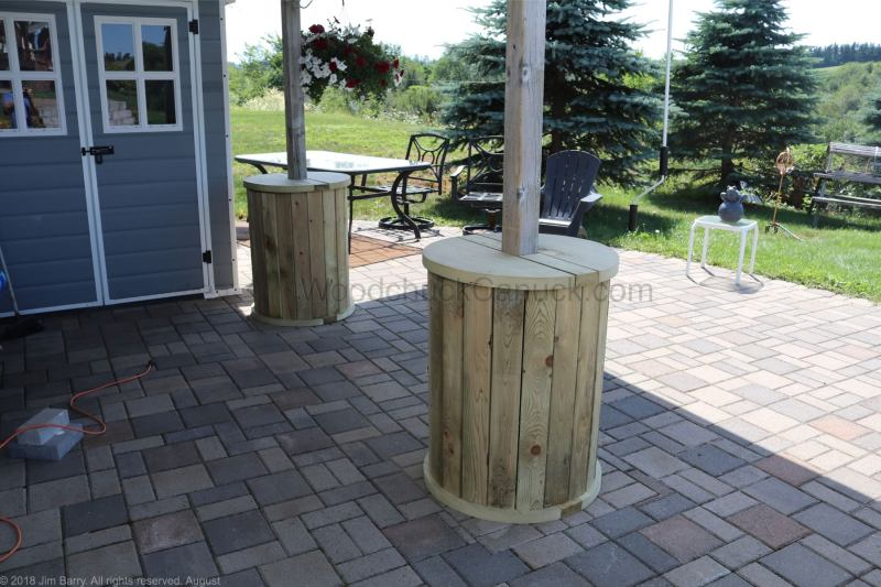 DIY column wraps with table top and storage.