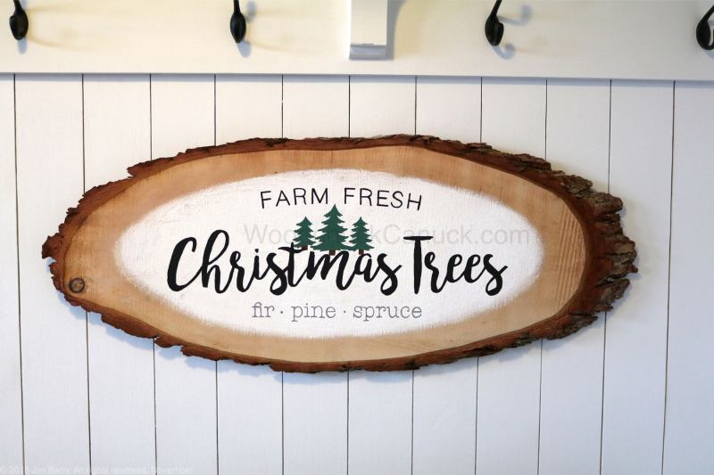 DIY,Christmas sign,Christmas plaque,farm fresh christmas trees,hemlock wood slice