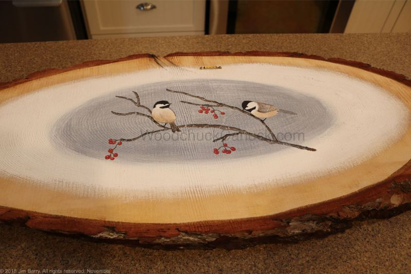 wood slice painting,diy,chickadees