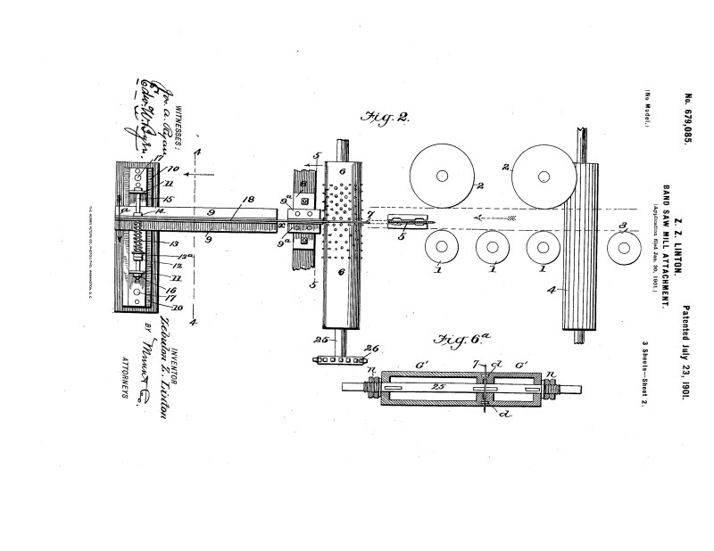 1901 Patent Zebulon Z. Linton bandsaw mill attachment to control springy timber. Pg 2 of 6