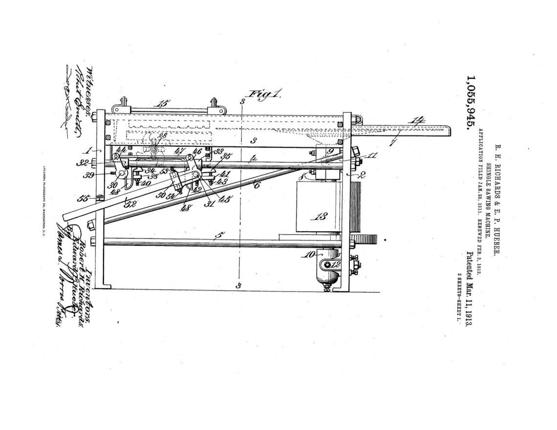 02-03-1913 patent 1055945 1913-02-03 AMERICAN SAW MILL MACHINERY COMPANY ROBERT H Richard, EDWARD P Hueber, Shingle Sawing Machine pg 1 of 7