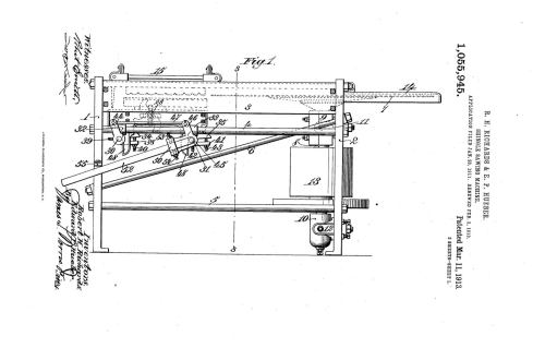 02-03-1913 patent 1055945 1913-02-03 AMERICAN SAW MILL MACHINERY COMPANY ROBERT H Richard, EDWARD P Hueber, Shingle Sawing Machine pg 1 of 7