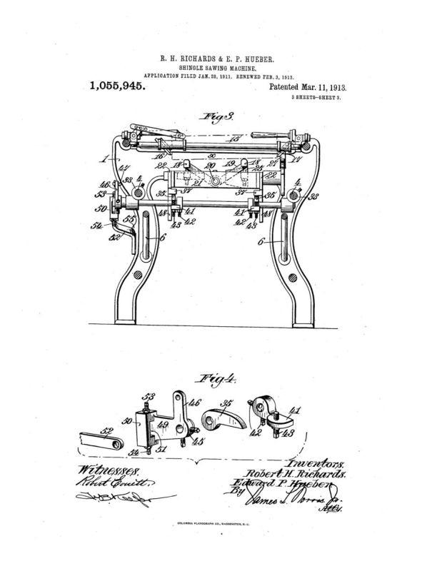 02-03-1913 patent 1055945 1913-02-03 AMERICAN SAW MILL MACHINERY COMPANY ROBERT H Richard, EDWARD P Hueber, Shingle Sawing Machine pg 3 of 7