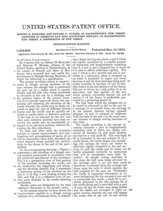 02-03-1913 patent 1055945 1913-02-03 AMERICAN SAW MILL MACHINERY COMPANY ROBERT H Richard, EDWARD P Hueber, Shingle Sawing Machine pg 4 of 7