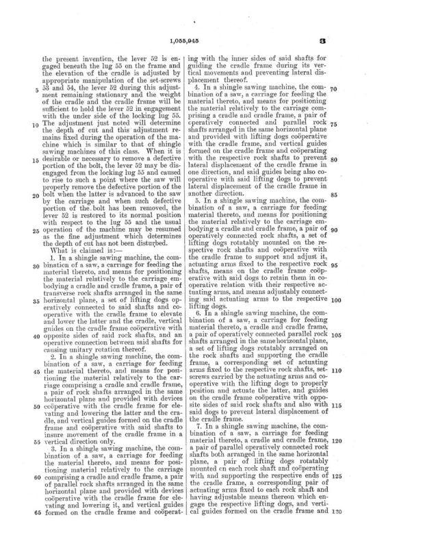 02-03-1913 patent 1055945 1913-02-03 AMERICAN SAW MILL MACHINERY COMPANY ROBERT H Richard, EDWARD P Hueber, Shingle Sawing Machine pg 6 of 7