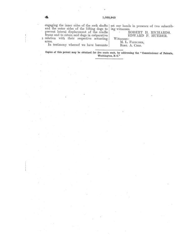 02-03-1913 patent 1055945 1913-02-03 AMERICAN SAW MILL MACHINERY COMPANY ROBERT H Richard, EDWARD P Hueber, Shingle Sawing Machine pg 7 of 7