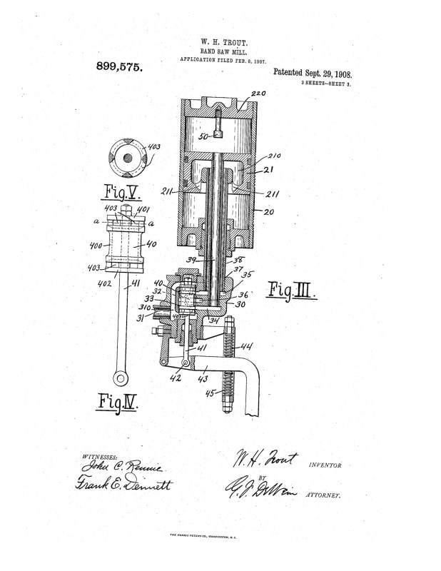 02-08-1907 patent 0899575 1907-02-08 ALLIS-CHALMERS COMPANY, William H Trout band saw mill improvements