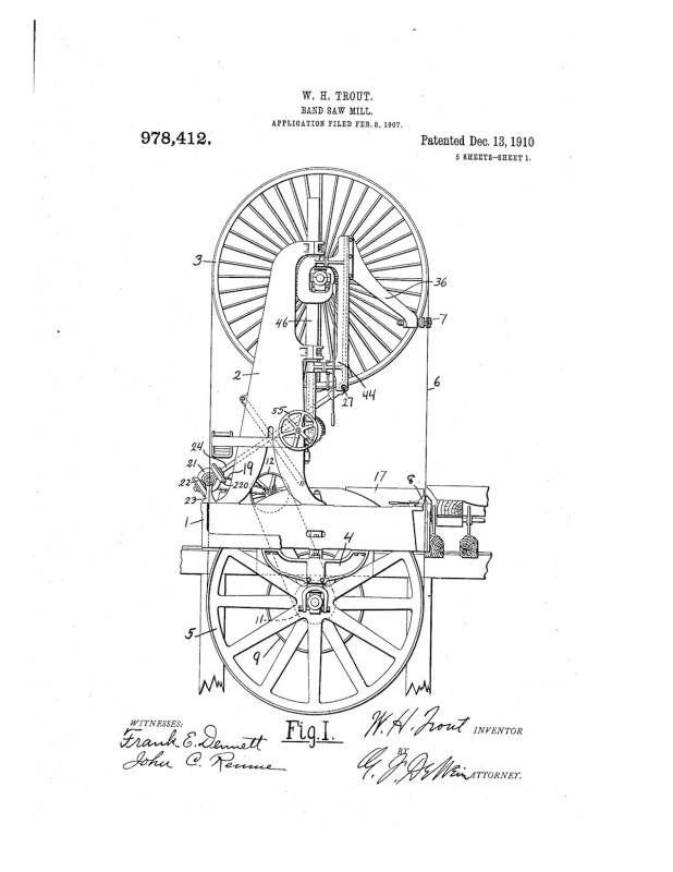 02-08-1907 patent 0978412 1907-02-08 ALLIS-CHALMERS COMPANY, William H Trout improvements to band saw mills construction and arrangement pg 1 of 8