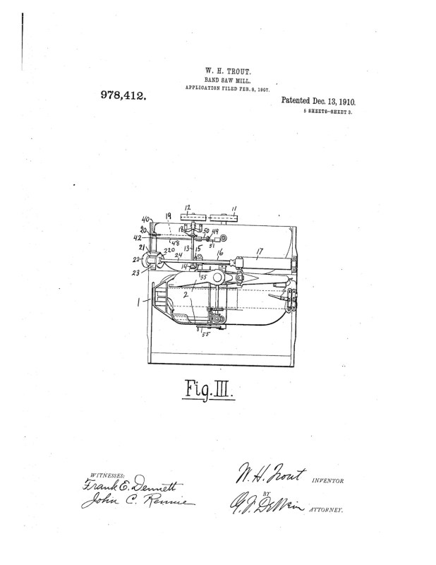 02-08-1907 patent 0978412 1907-02-08 ALLIS-CHALMERS COMPANY, William H Trout improvements to band saw mills construction and arrangement pg 3 of 8