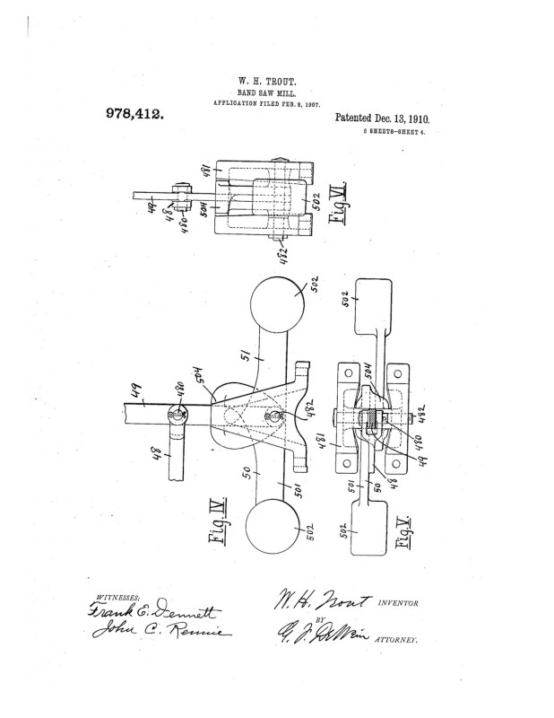 02-08-1907 patent 0978412 1907-02-08 ALLIS-CHALMERS COMPANY, William H Trout improvements to band saw mills construction and arrangement pg 4 of 8