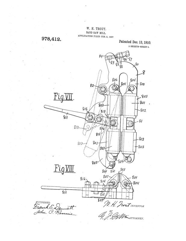 02-08-1907 patent 0978412 1907-02-08 ALLIS-CHALMERS COMPANY, William H Trout improvements to band saw mills construction and arrangement pg 5 of 8