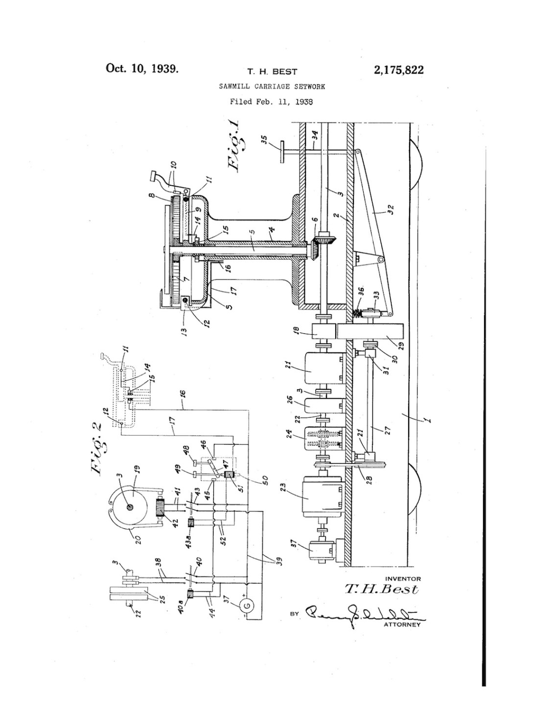 02-11-1938 patent 2175822 1938-01-11 Theodore H. Best, This invention relates to sawmills, and particularly to the setwork of log carriages Pg 1 of 4
